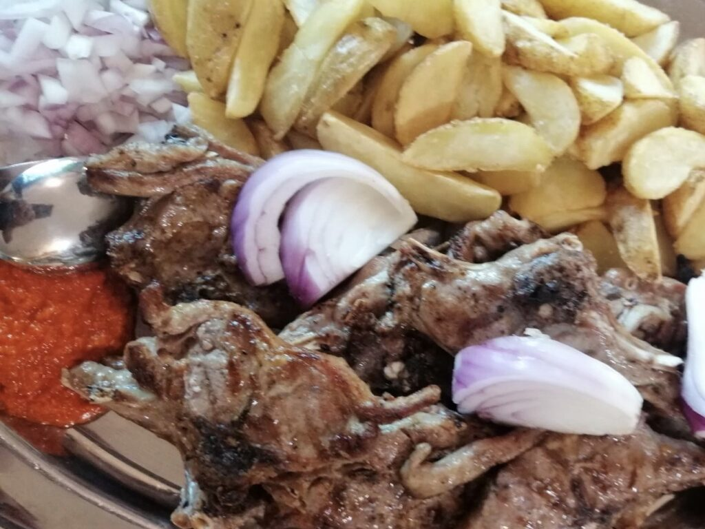 grilled lamb potatoes and onion